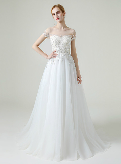 White Tulle Short Sleeve Beading Sequins Wedding Dress