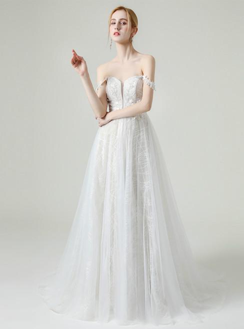 White Tulle Appliques Off the Shoulder Floor Length Wedding Dress