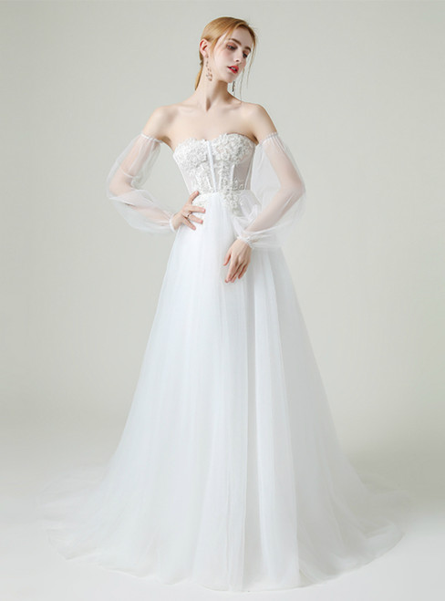A-Line White Tulle Sweetheart Corset Appliques Wedding Dress