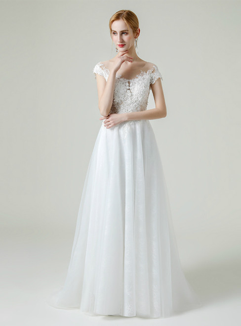 White Tulle Lace Appliques Cap Sleeve Backless Wedding Dress