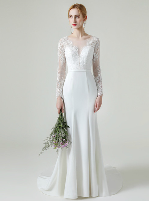 White Mermaid Satin Lace Illusion Long Sleeve Backless Wedding Dress