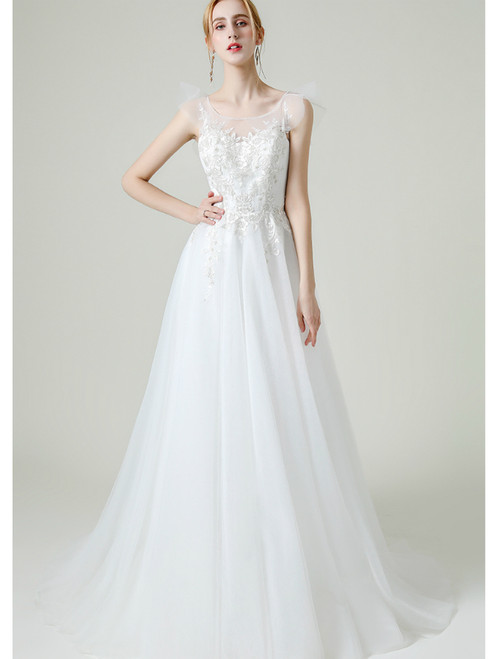 A-line White Tulle Appliques Backless Long Wedding Dress