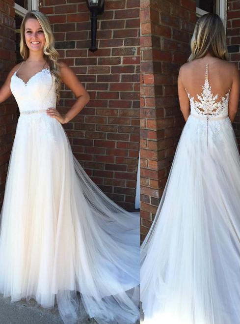 White Spaghetti Straps Tulle Illusion Back Wedding Dress