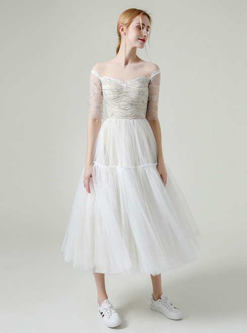 White Tulle Half Sleeve Beading Sequins Tea Length Wedding Dress