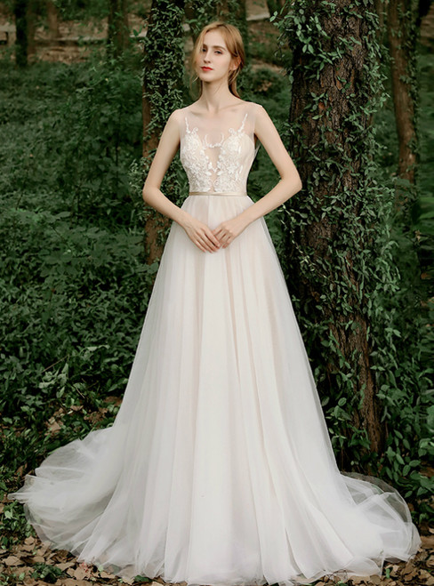 A-Line Champagne Tulle Illusion Appliques Wedding Dress