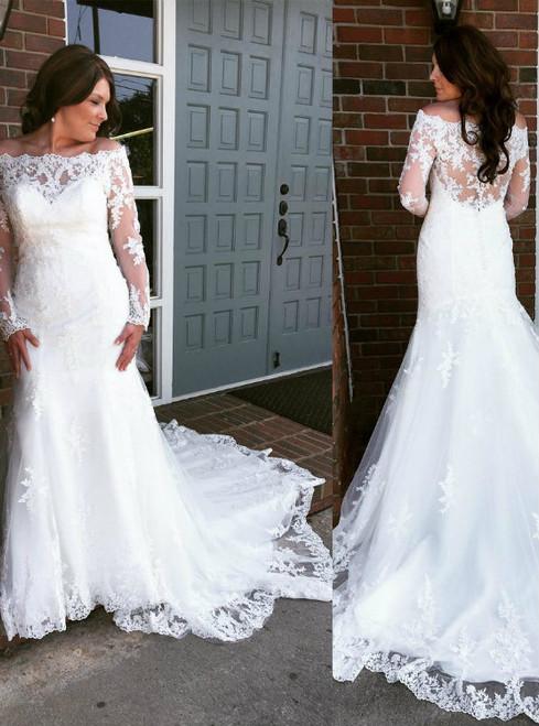 Long Sleeves Wedding Dress off shoulder dresses 2017