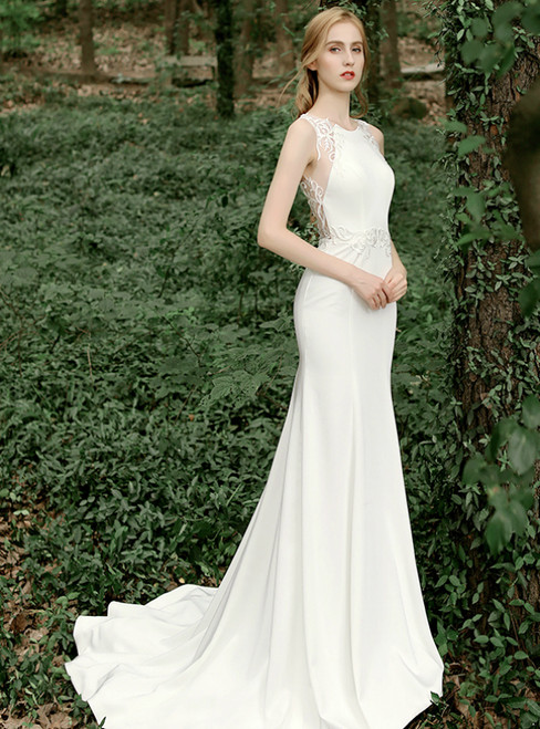 White Mermaid Satin Appliques Illusion Back Wedding Dress