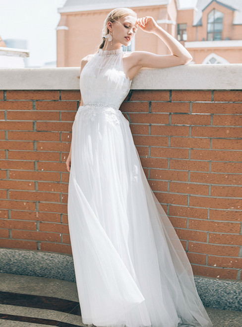 White Tulle Lace Pleats Beading Appliques Wedding Dress
