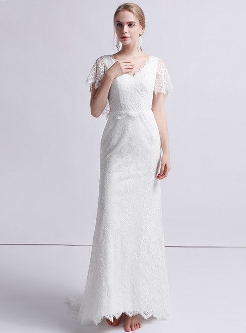 White Mermaid Lace V-neck Short Sleeve Wedding Dress
