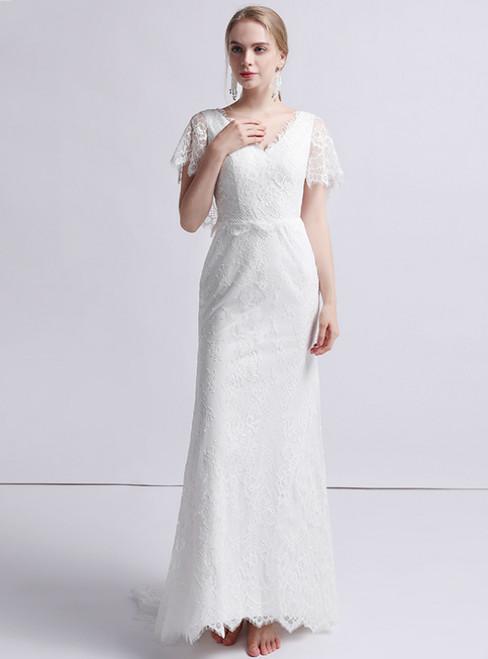 White Mermaid Lace V-neck Short Sleeve Wedding Dress