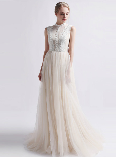Fancy Champagne Tulle Lace Button Long Wedding Dress