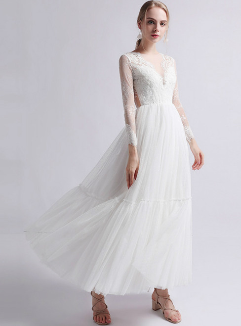 White Tulle Lace Appliques Long Sleeve Ankle Length Wedding Dress