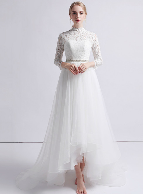White Tulle Lace Long Sleeve Hi Lo Wedding Dress With Belt