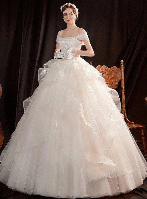 In Stock:Ship in 48 Hours White Ball Gown Tulle Sequins Wedding Dress