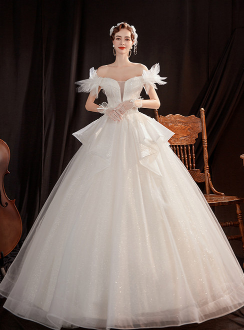 In Stock:Ship in 48 Hours White Tulle Off the Shoulder Sequins Appliques Wedding Dress