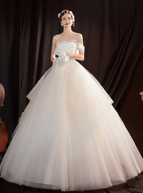 In Stock:Ship in 48 Hours White Tulle Strapless Wedding Dress
