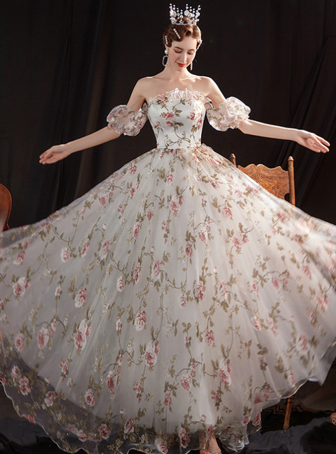 In Stock:Ship in 48 Hours White Tulle Print Strapless Wedding Dress
