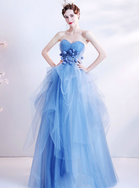 In Stock:Ship in 48 Hours Blue Tulle Strapless 3D Appliques Prom Dress
