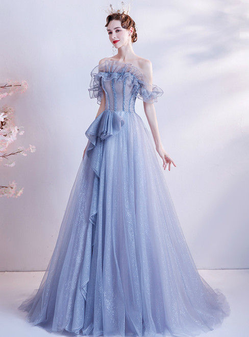 In Stock:Ship in 48 Hours Blue Tulle Off the Shoulder Beading Prom Dress