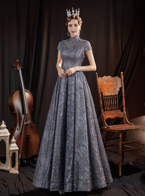 In Stock:Ship in 48 Hours Drak Gray Sequins Cap Sleeve Prom Dress