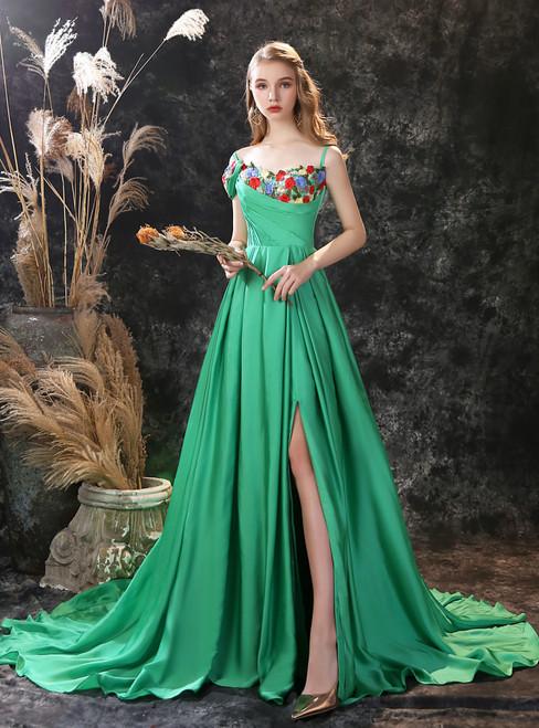 Green Satin Spaghetti Straps Embroidery Pleats Prom Dress