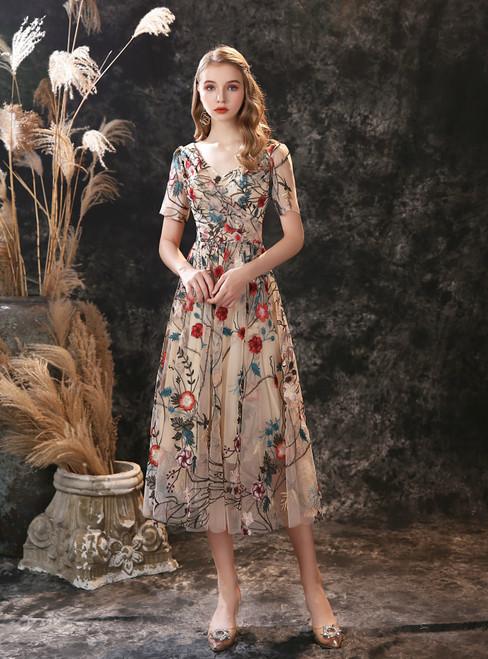 Dark Champagne Tulle V-neck Short Sleeve Embroidery Prom Dress