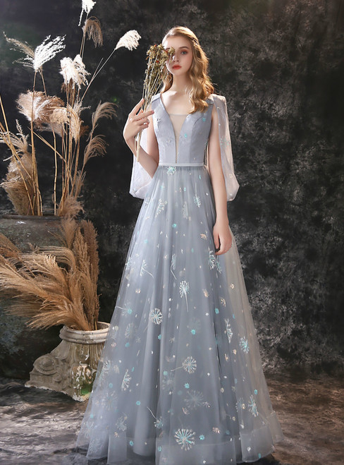 Fashion Gray Dandelion Lace V-neck Beading Back Prom Dress