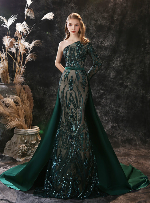 Dark Green Mermaid Sequins Satin One Shoulder Long Sleeve Prom Dress