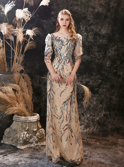 Dark Champagne Tulle Embroidery Sequins 3/4 Sleeve Long Prom Dress