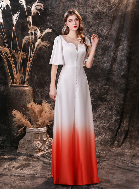 Cheap White Satin Bateau Short Sleeve Pearls Prom Dress