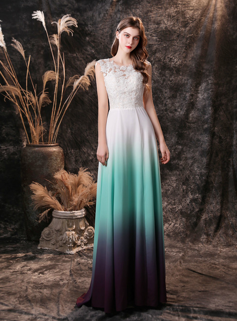 White Gradient Chiffon Lace Appliques Backless Prom Dress