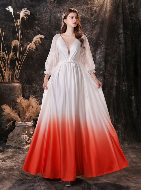 White Gradient Illusion V-neck Lace Long Sleeve Prom Dress