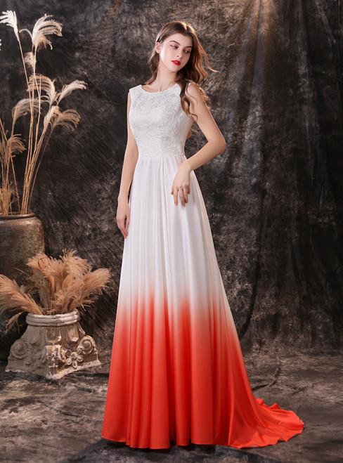 Simple White Satin Chiffon Gradient Appliques Prom Dress
