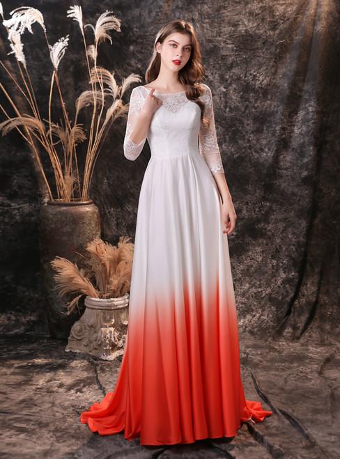 White Satin Chiffon 3/4 Sleeve Backless Gradient Prom Dress