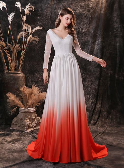 White Satin Chiffon V-neck Long Sleeve Formal Prom Dress