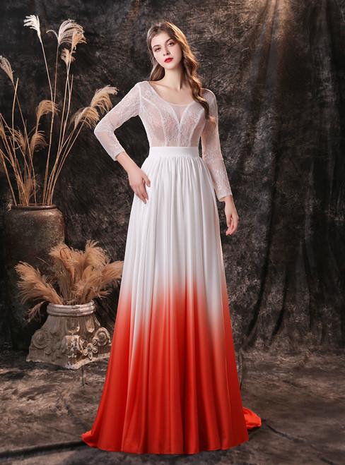 White Long Sleeve Illusion Top V-neck Open Back Prom Dress