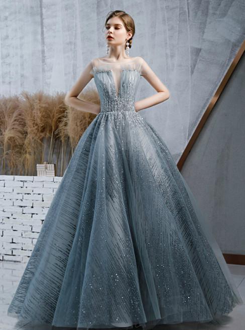 Haze Blue Ball Gown Sequins Deep V-neck Beading Prom Dress
