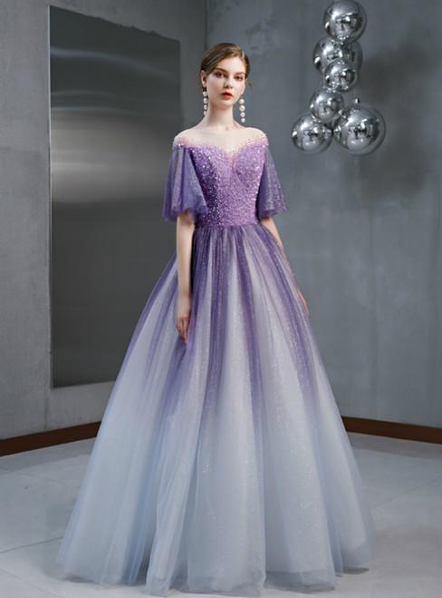 Purple Tulle Sequins Beading Horn Sleeve Prom Dress
