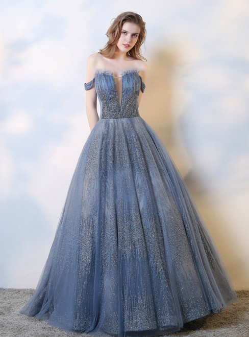 Blue Ball Gown Sequins Off the Shoulder Beading Prom Dress