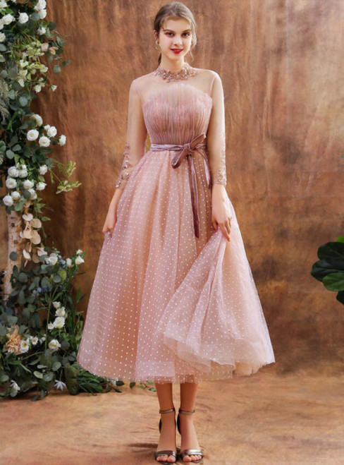 Pink Tulle Wave Point Long Sleeve Pleats Beading Short Prom Dress