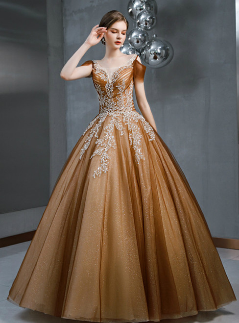 Coffee Ball Gown Tulle Beading Sequins Long Prom Dress