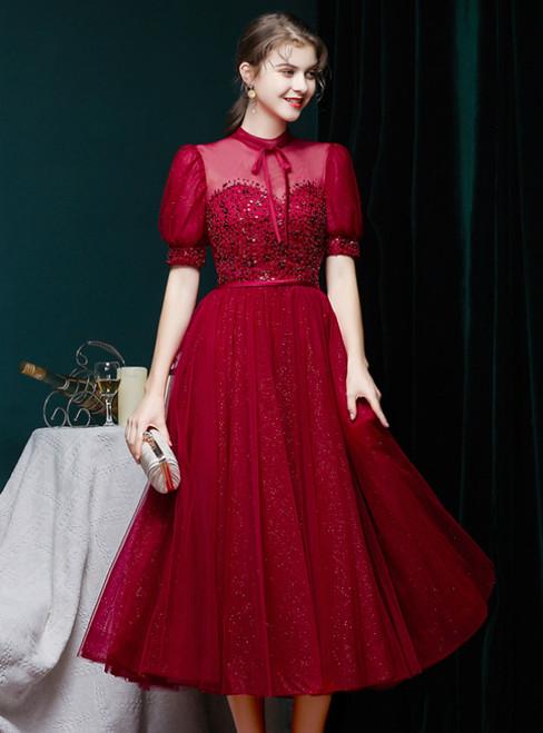 Burgundy Tulle Puff Sleeve High Neck Sequins Vintage Prom Dress