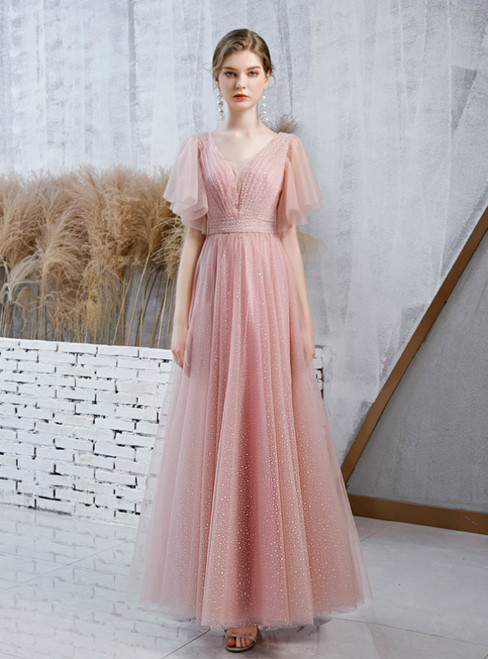 Pink Tulle Wave Point Petal Sleeve V-neck Prom Dress