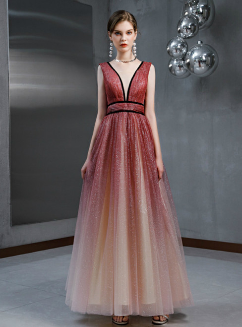 A-Line Burgundy Tulle Sequins V-neck Pleats Prom Dress