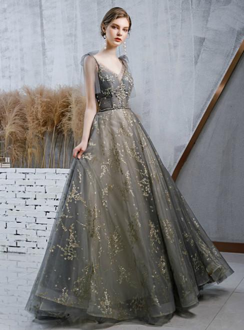 Gray Tulle V-neck Sequins Beading Formal Prom Dress