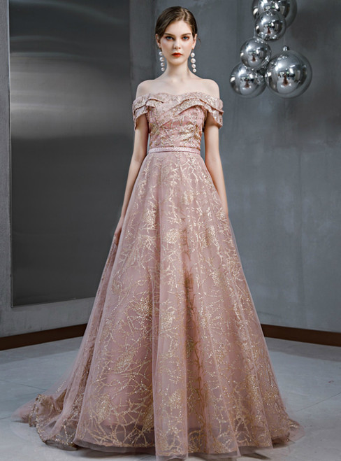 A-Line Pink Tulle Sequins Off the Shoulder Beading Prom Dress