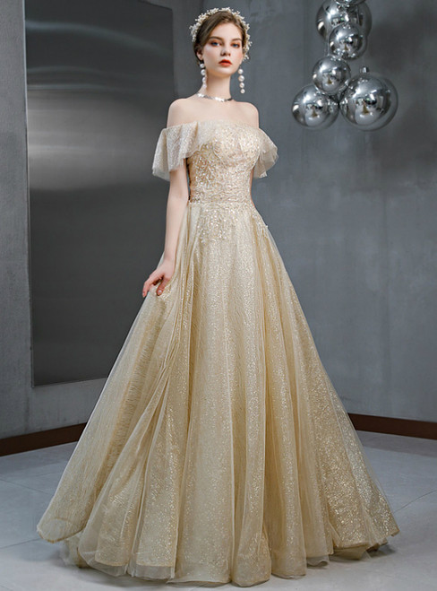 Champagne Tulle Sequins Off the Shoulder Beading Prom Dress