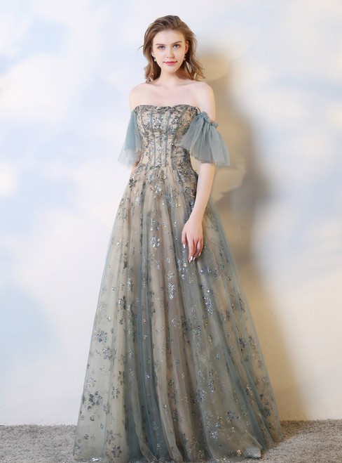 Blue Gray Tulle Off the Shoulder Sequins Corset Prom Dress