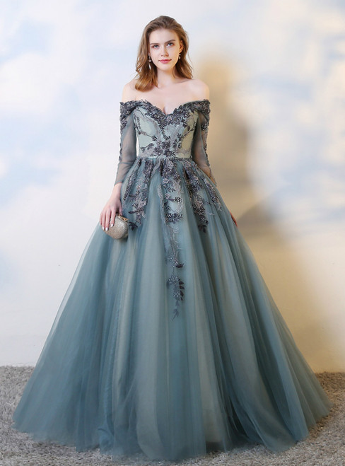 Blue Tulle Ball Gown Off the Shoulder Long Sleeve Prom Dress