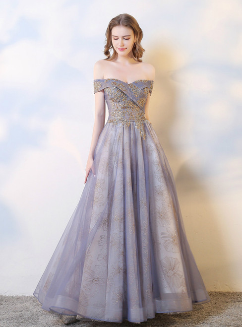 A-Line Purple Tulle Sequins Off the Shoulder Prom Dress